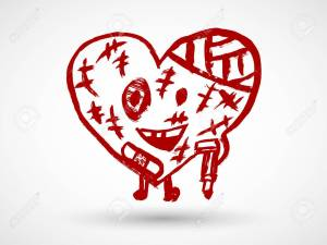 Broken heart character icon in red color. Hurt love symbol.